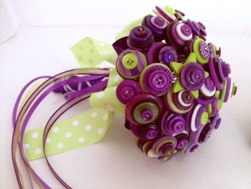 Custom Made Button Wedding Bouquet In Purple And Green