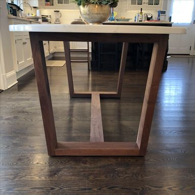 Custom Made Black Walnut Wood Table Base For Stone Top // Wood Top