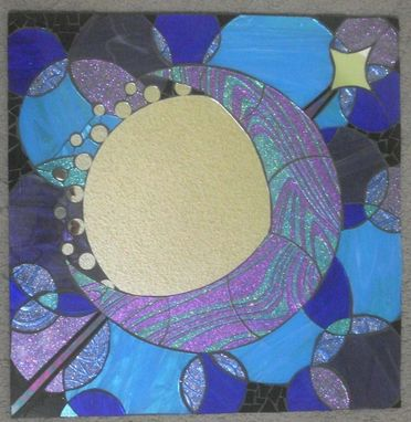 Custom Made Mosaic Mirror Moon Handmade Glitter Glass