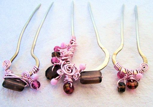 "Custom Made Hair Forks In Nickle Silver/ Set Of 3 / Sample Photo/ ""Soft Pink Extravagance""/Ooak"