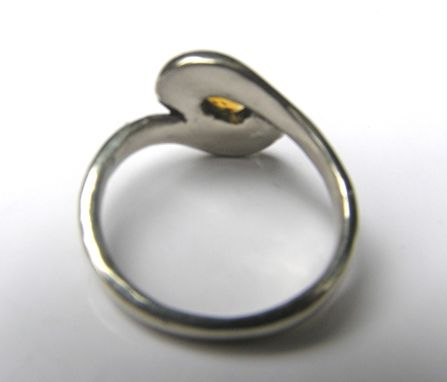 Custom Made Golden Gemstone In Custom 14k White Gold Ring