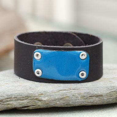Custom Made Black Leather Cuff, Bracelet, Copper Enamel, Enameled Jewelry Unisex, Blue