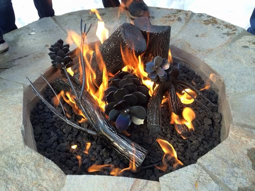 Custom Made Steel Log Fire Pit Center Piece