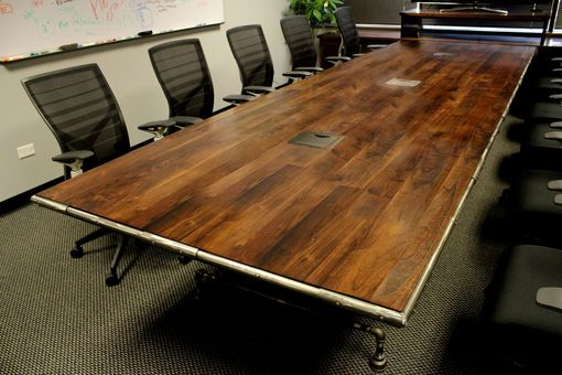 Custom Made Walnut Conference Industrial Table With Media Cabinet