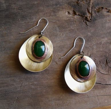 Custom Made Brushed Brass Earrings With Oval Jade Stones