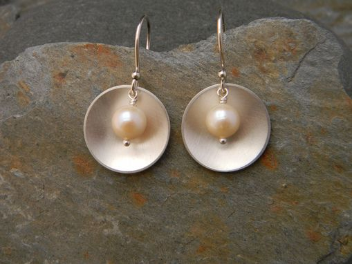 Custom Made Simple Silver And Pearl Earrings