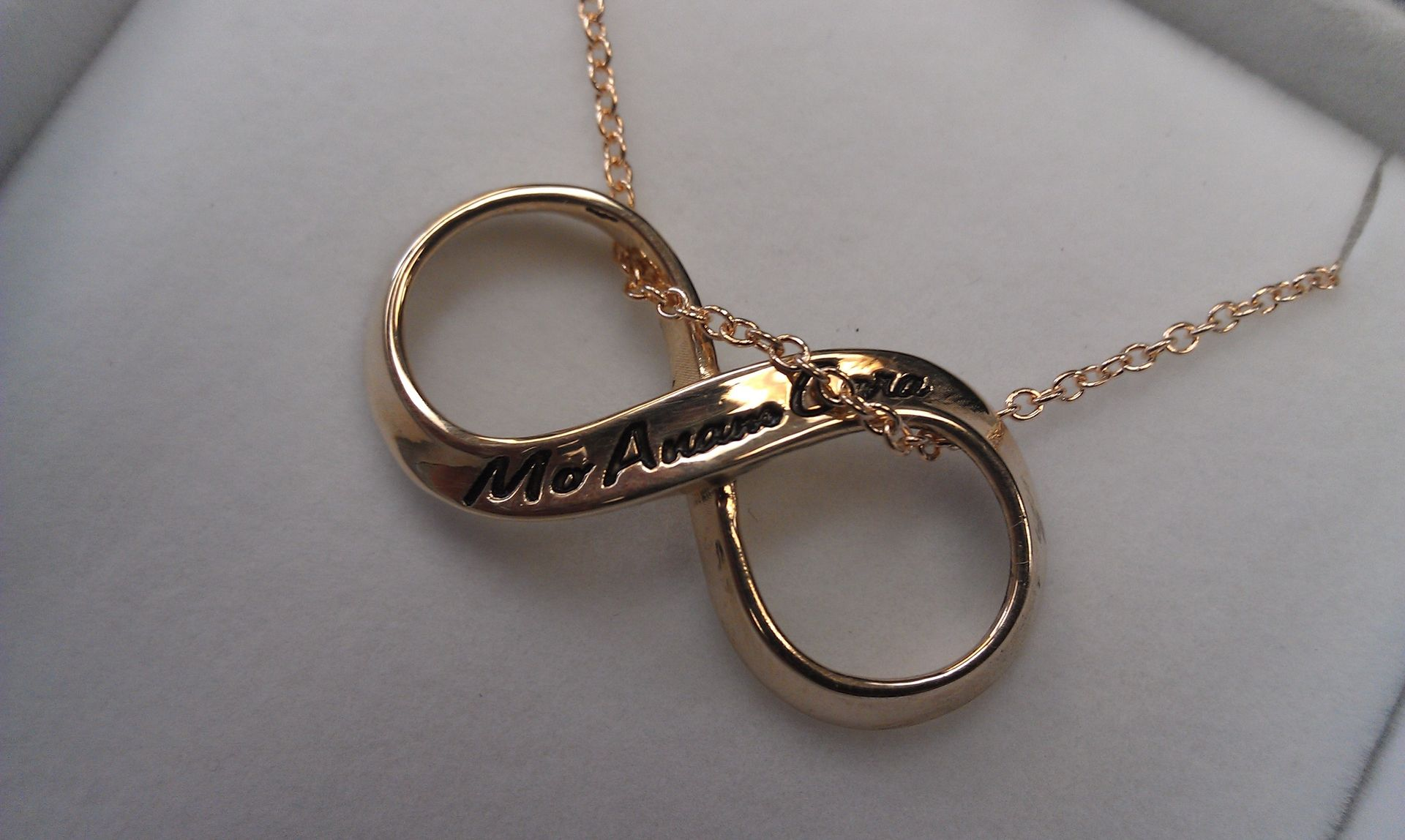 yellow sign in gold necklace infinity