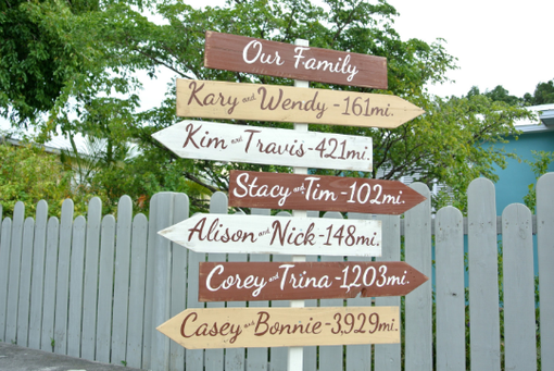 Custom Made Rustic Destination Mileage Signage. Our Family Wooden Mileage Arrow Signs