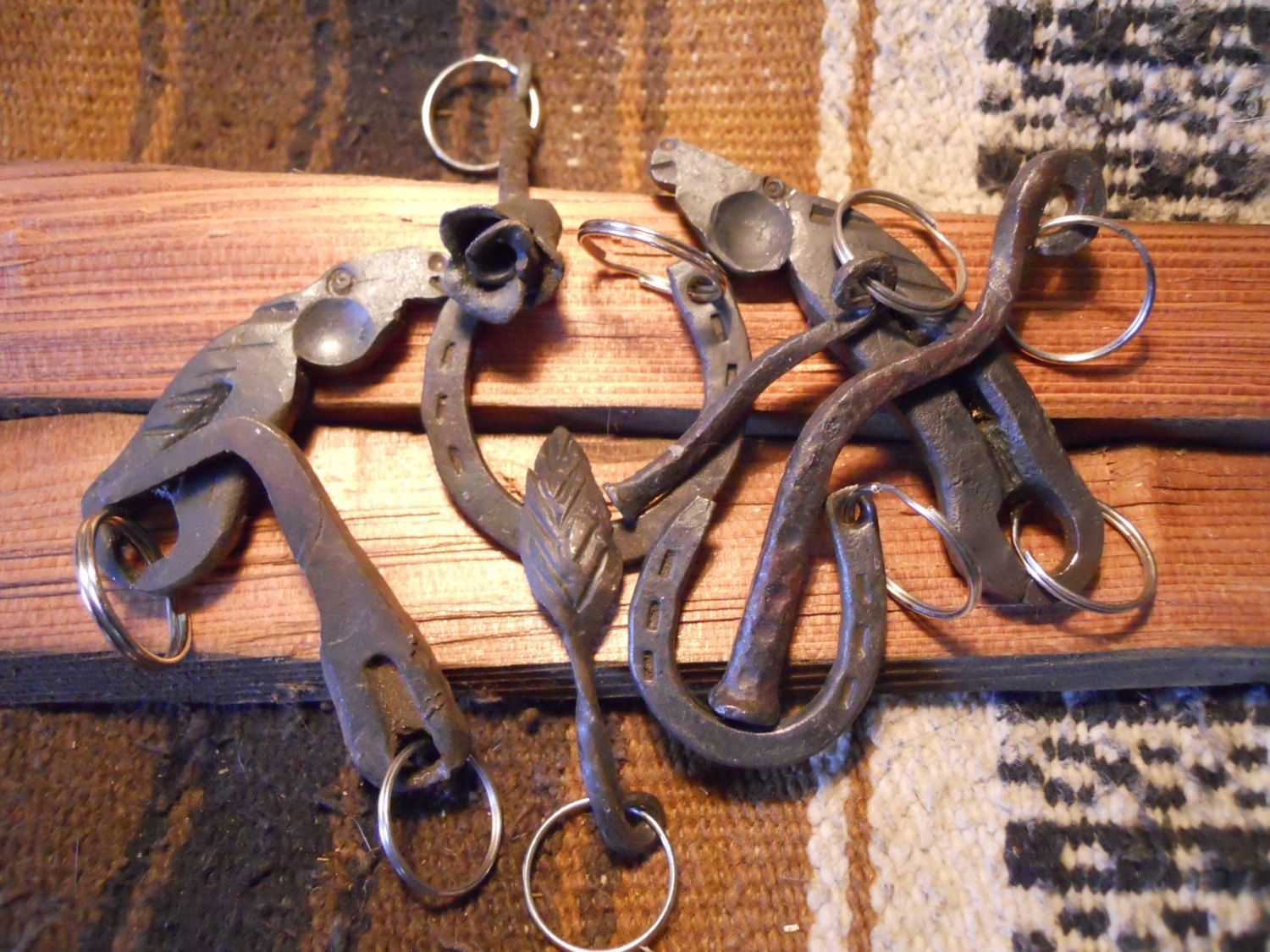 Custom hand forged key chains by black cat forge welding and custom made hand forged key chains publicscrutiny Image collections