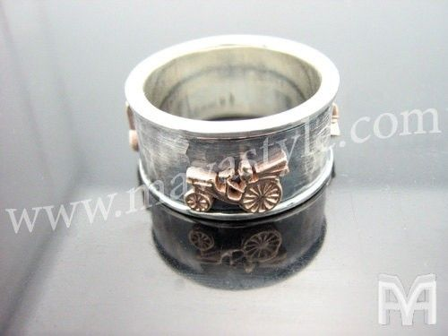 Custom Made Sterling Silver And Gold Antique Car Spinning Ring