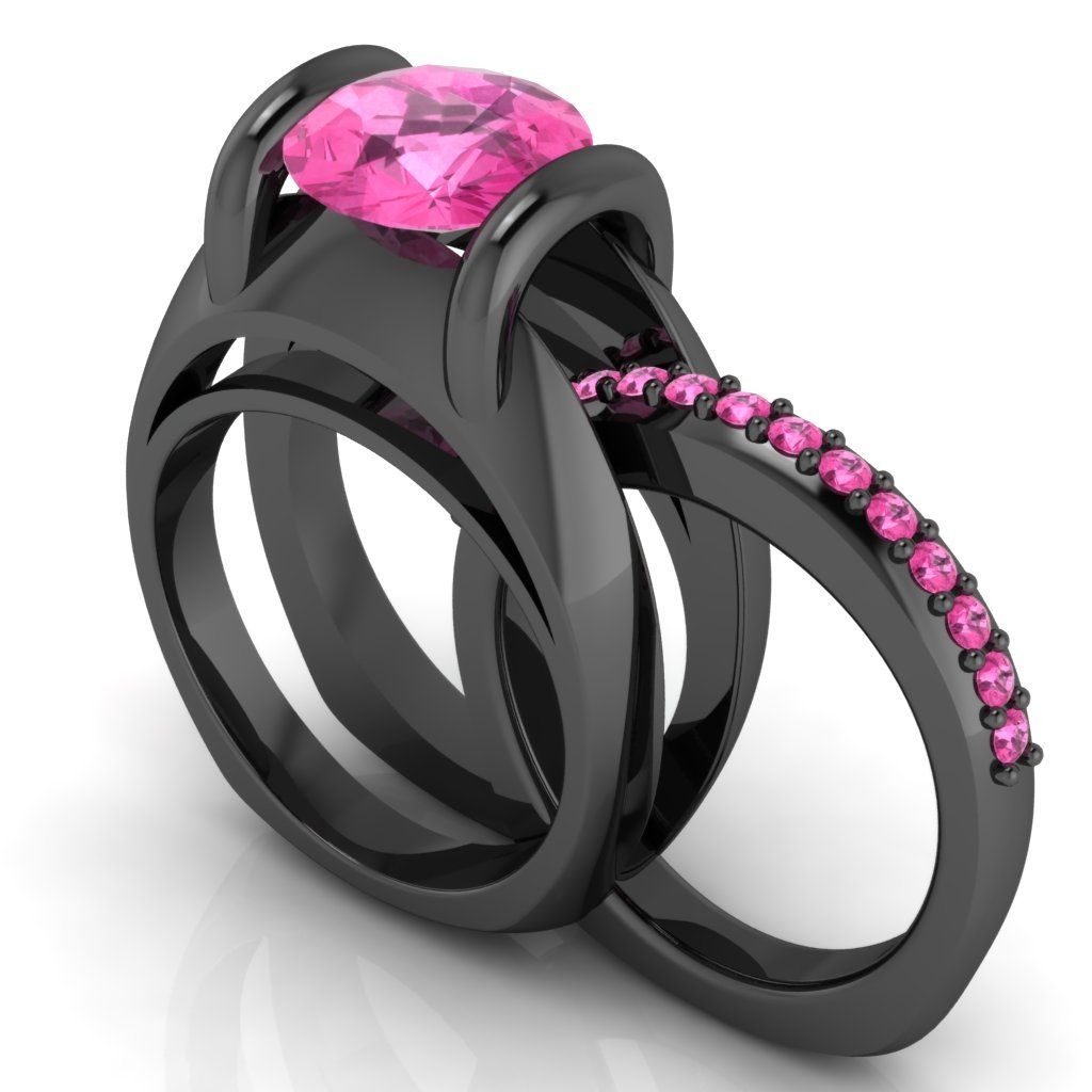 Custom Made Gothic Engagement Ring 10 K With Pink Sapphire