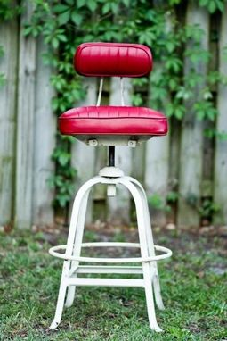 Custom Made Industrial White Cast Iron Drafting Stool With Red Adjustable Height Swivel Seat And Back