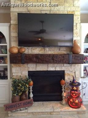 Custom Made Fireplace Mantel With Iron Double Layer Straps