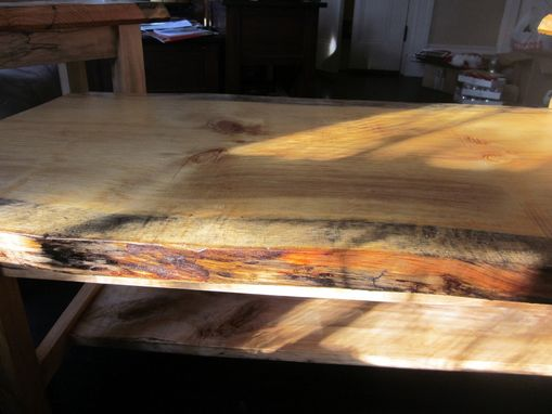 Custom Made Spalted Curly Maple Coffee Table With Live Edge Pine