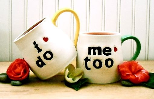 Custom Made I Do, Me Too - 2 Personalized Bride & Groom Ceramic Pottery 8th, 9th Wedding Anniversary Mugs