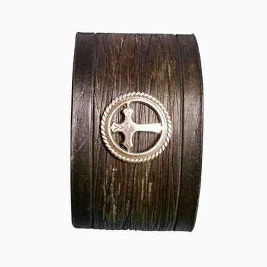 Custom Made 2in Wide Black Distressed Leather Cuff Christian Cross