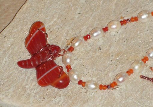 Custom Made White Pearl And Carnelian Necklace With Carnelian Dragonfly Pendant In Copper