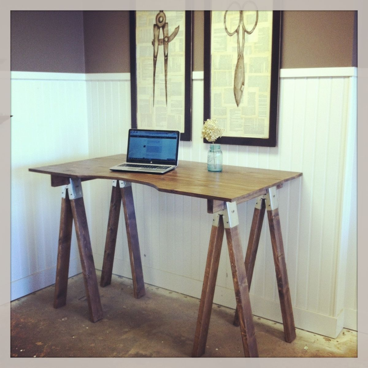 Handmade sawhorse desk by sb designs Sawhorse desk legs