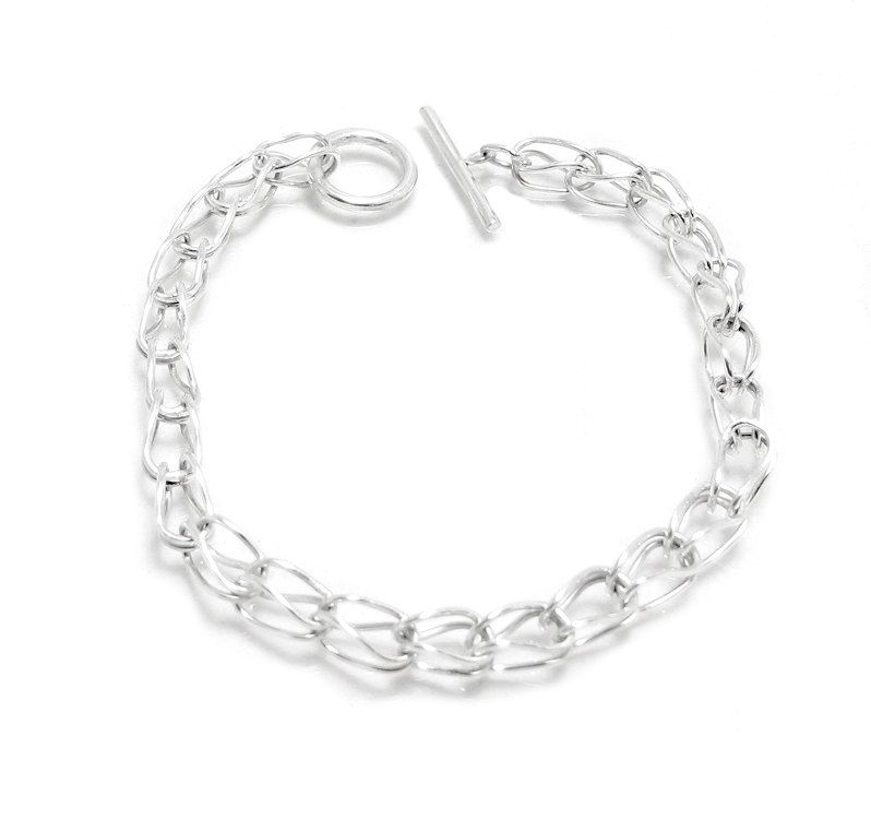 Custom Made Chainmaille Bracelet Recycled Sterling Silver Link Charm