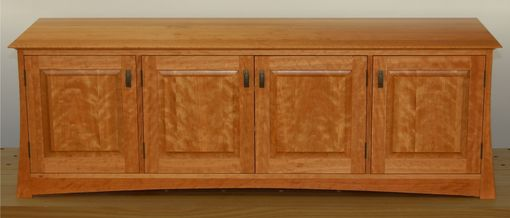 Custom Made Asian Inspired Media Cabinet In Curly Cherry