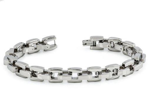 Custom Made Men's High Polished Titanium Designer Box Link Bracelet