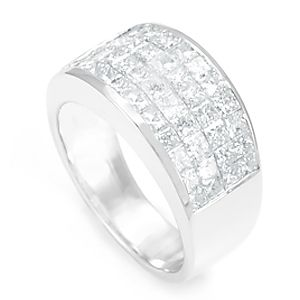 Custom Made Princess Cut Diamond Ring In 14k White Gold, Invisible Set Ring, Ladies Ring