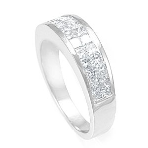 Custom Made 2 Row Princess Diamond In 14k White Gold Band, Wedding Band, Ladies Ring