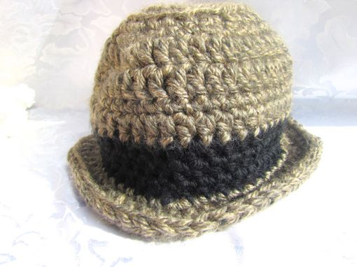 Custom Made Unisex Adult Crochet Wool Hat - Brown And Black - Ready To Ship