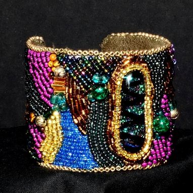 Custom Made Bead Embroidered Cuff With Fused Glass Cab