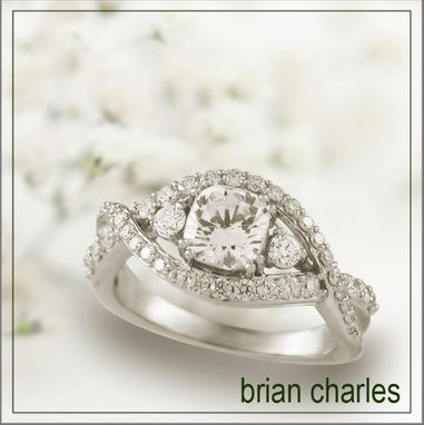 Custom Made Interwoven 18k White Gold Engagement Ring With Cushion Cut Diamond