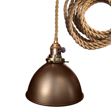 "Custom Made Factory 7"" Metal Shade Bare Bulb Pendant Light- Ship Rope Cord"