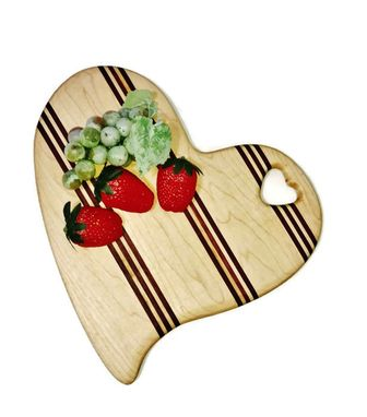 Custom Made Heart Shaped Maple And Purple Heart Cutting Board
