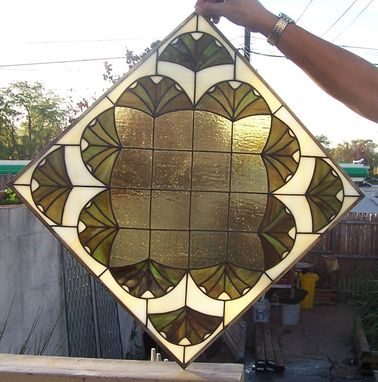 Custom Made Ginkgo Leaves Stained Glass Window (W-12)