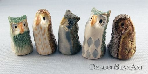 Custom Made Ceramic Miniature Owls, Flock Of Twelve Surprise Owls In A Gift Box