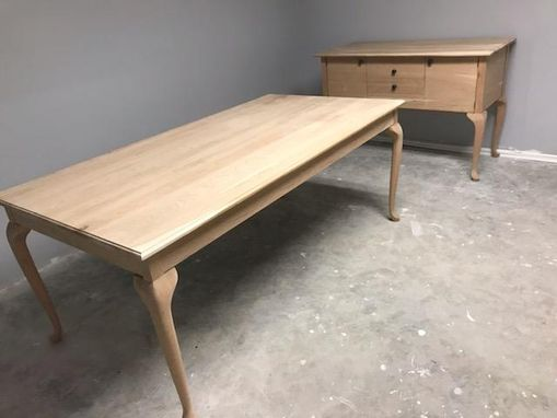 Custom Made Queen Anne Style Cherry Dining Table With Matching Buffet Table/Sideboard