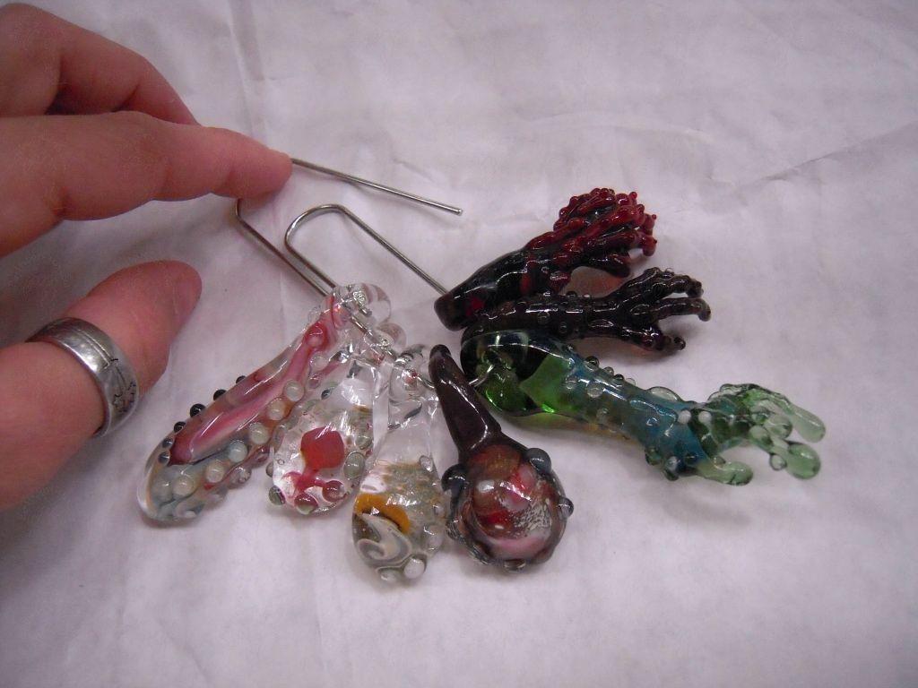 custom made mushroom implosion pendants large heady glass focal beads for hemp - Heady Glass Pendants