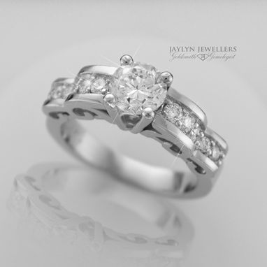 Custom Made White Gold And Diamond Curls Engagement Ring