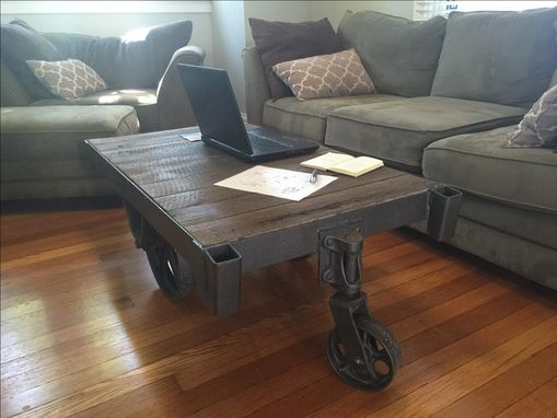 Custom Made Reclaimed Warehouse Cart Coffee Table