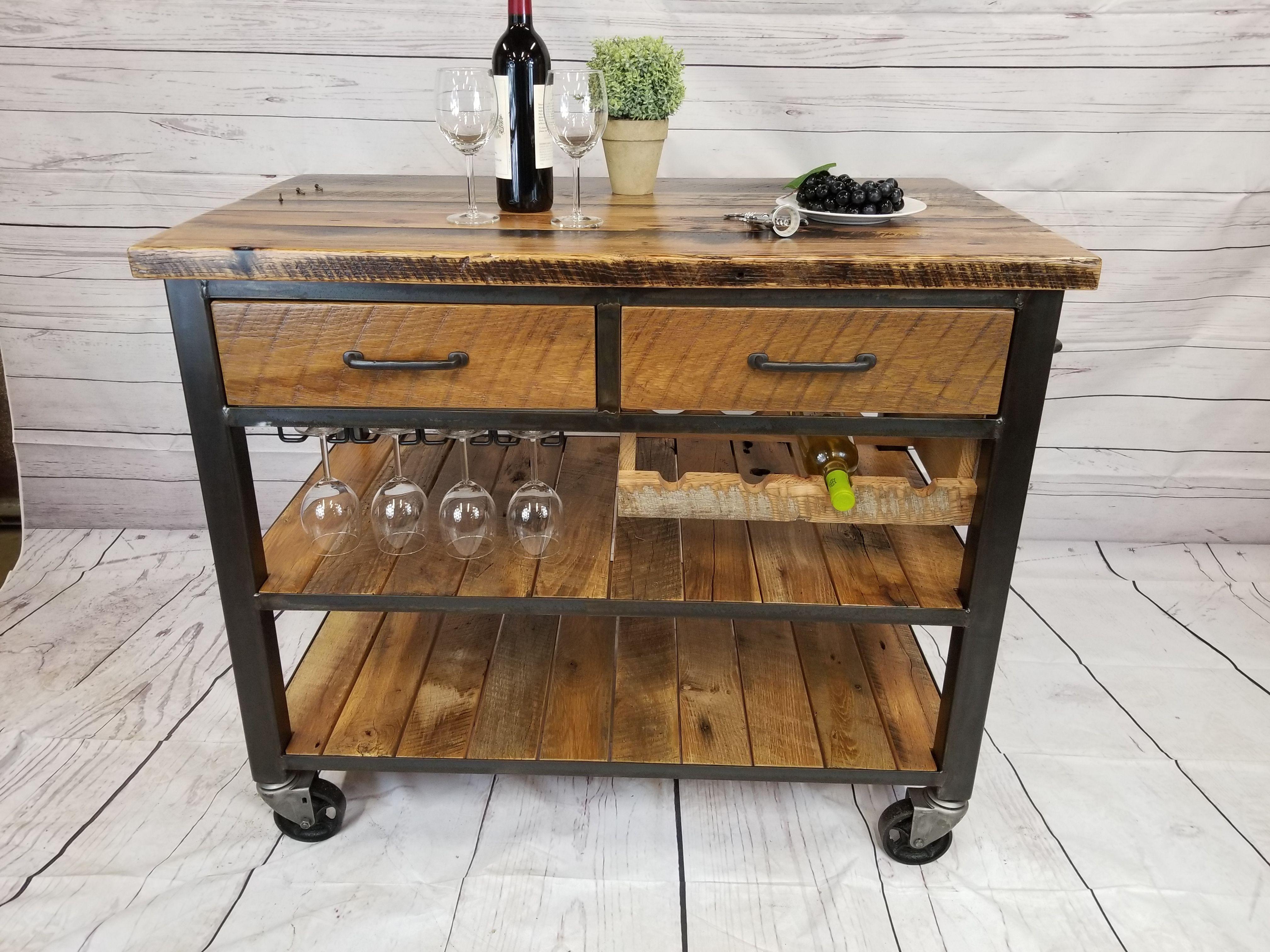 Buy a Custom Reclaimed Wood Bar Cart, Rustic Kitchen Island ...