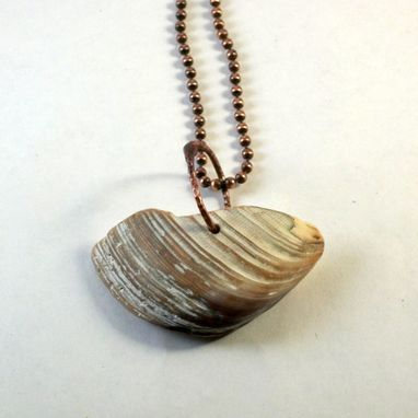 Custom Made Shell Pendant On Copper Ball Chain Necklace