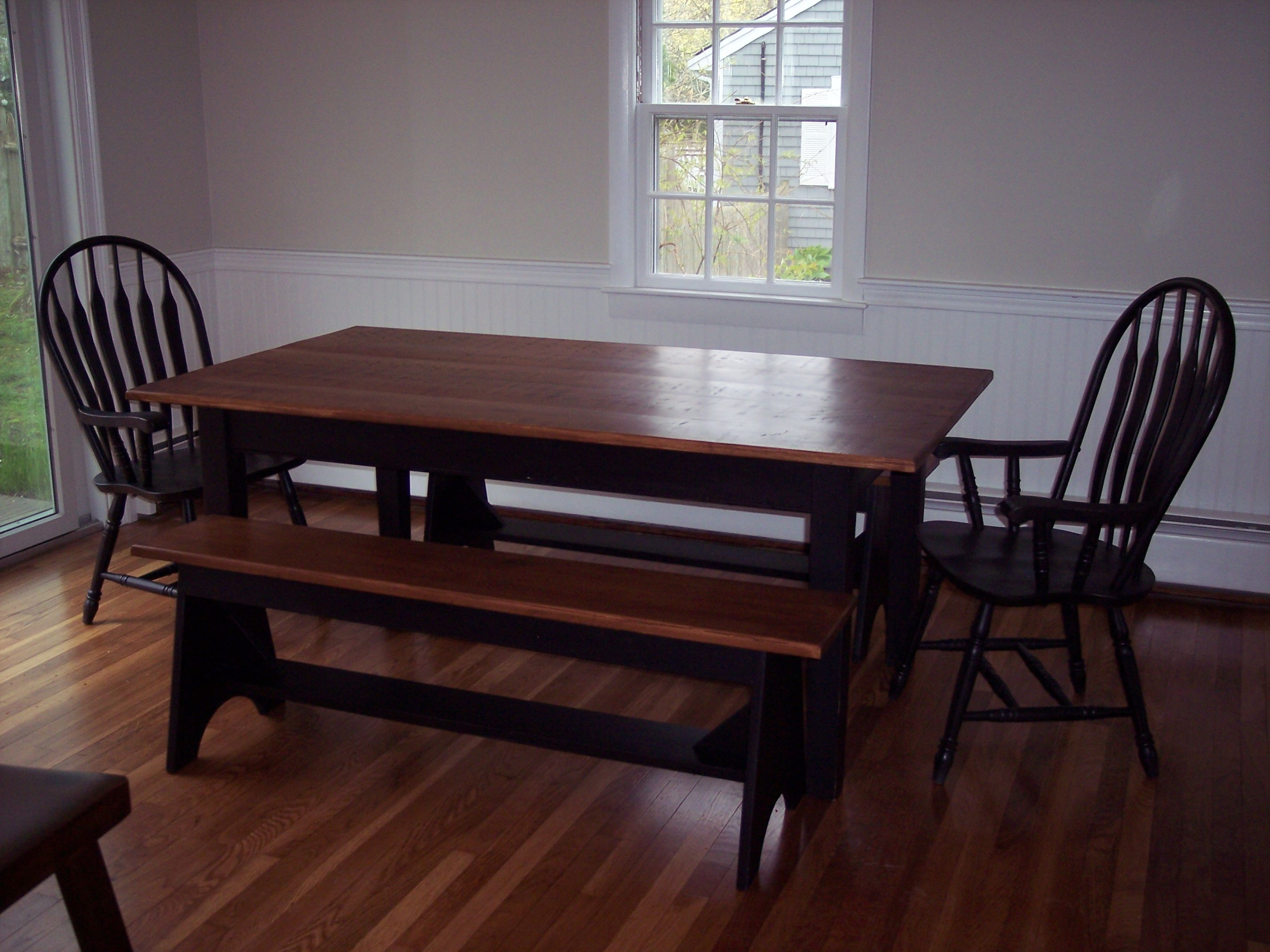 Hand Made Shaker Farm Table With Solid Maple Top W Maple Matching