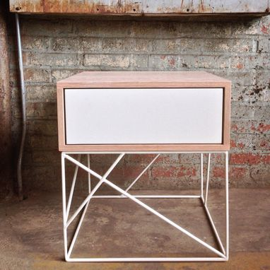 Custom Made Solid Wood Side Table With Steel Panel Drawer And Geometric Steel Base