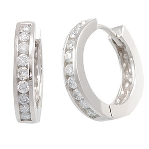 Custom Made Diamond Hoop Earrings In 14k White Gold, Ladies Earrings, Gold Hoop Earrings