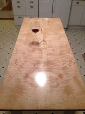 Custom Made Quilted Book Matched Figured Maple Farm Table 60