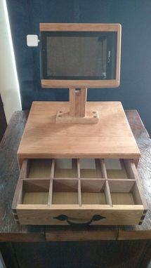 Custom Made Wooden Cash Box And Tablet Holder
