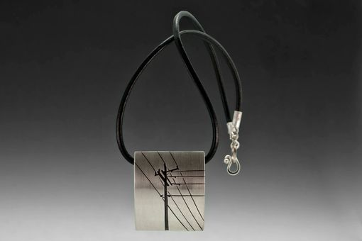 Custom Made Industrial Necklace, Power Lines, Sterling Silver, Art Jewelry Pendant