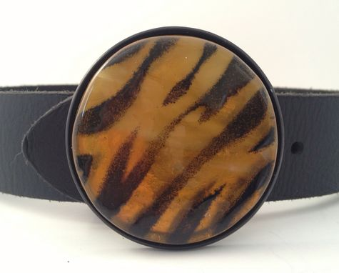 Custom Made Round Tiger Fused Glass Belt Buckle