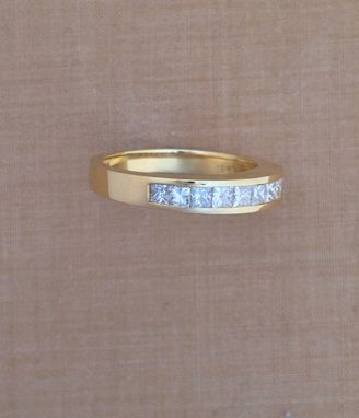 Custom Made 0.99 Ct. Princess Cut Diamond Wedding Or Anniversary Band - Channel Setting - 18k Yellow Gold