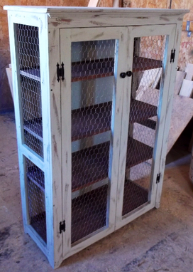 Custom Made Rustic Cabinet With Open Sides,Bathroom Cabinet, Display Cabinet, Record Cabinet, Painted Furniture