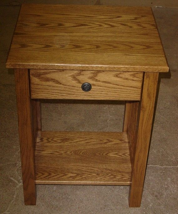 Hand Crafted New Mission Style Solid Oak Wood Bedside